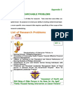 Sample Research Problems