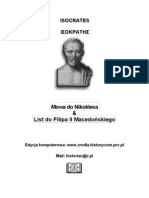 Isocrates - Mowa Do Nikoklesa & List Do Filipa