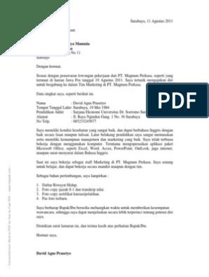 Contoh Surat Lamaran Kerja Yang Baik Dan Benarpdf