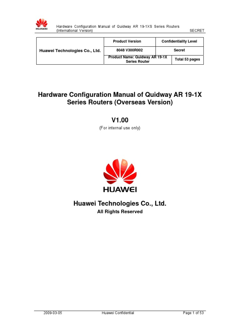 Quidway AR 19-1X Router Hardware Configuration Manual _Overseas