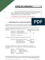 Packing List Utilisation en 2005