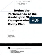 Monitoring the Performance of the Washington State Transportation Policy Plan, 1991