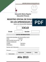 Registro Oficial de Evaluacion 2013