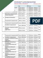 Horarios Facultad de Ciencias UGB