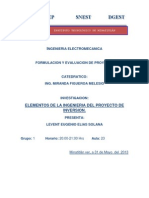 Elementos de Inngenieria Del Proyecto de Inversion