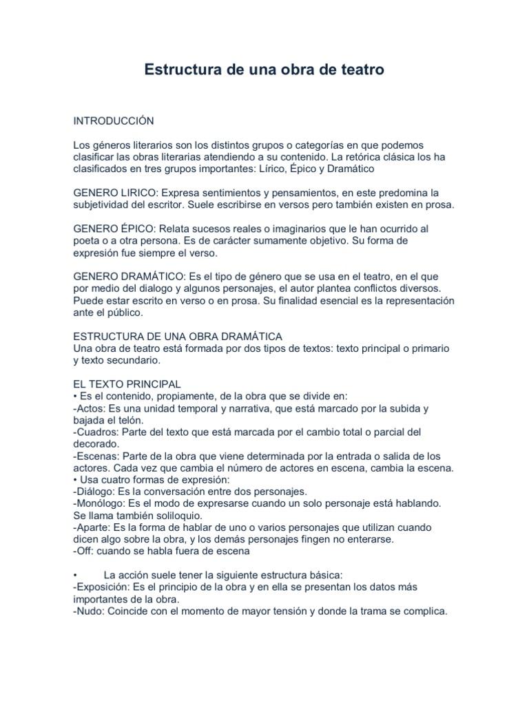 Estructura de una obra de teatro for La cocina obra de teatro