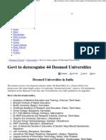 Govt to Derecognise 44 Deemed Universities 2012-2013