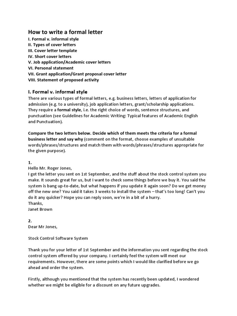 Cover Letter Guideline – Informal Cover Letter