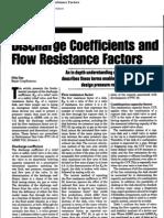 Discharge Coefficients and Flow Resistance Factors