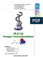 tp dosage de l'urée plasmatique