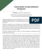 Conversion of Solar Energy via New Aerospace Technology