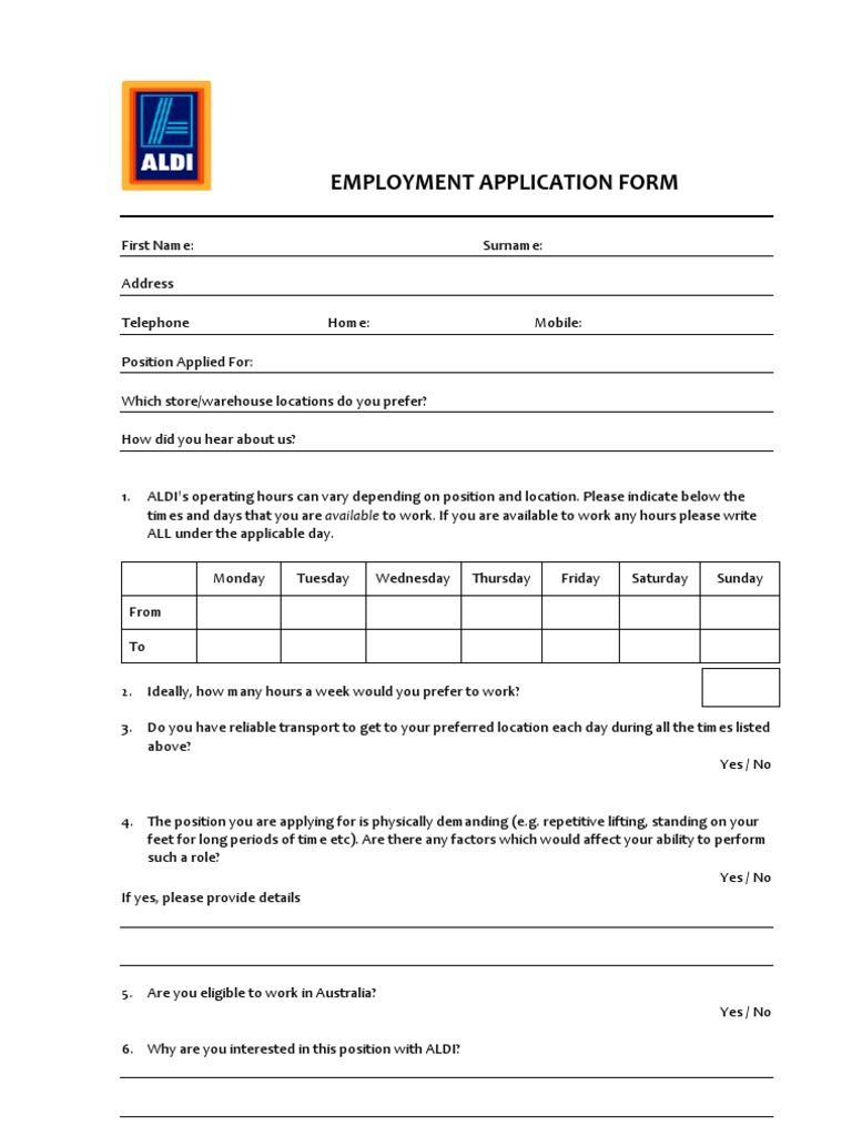 Aldi employment application form privacy government information falaconquin