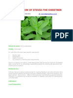 Cultivation of Stevia-The Sweetner