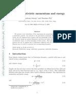 Deriving Relativistic Momentum and Energy