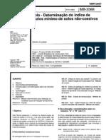 NBR 12051 MB 3388 - 1991 -  Solo, Determinacão do indice de vazios mínimos de solos não-coesivos
