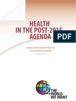 Health in the Post-2015 Agenda- Report on the Global Thematic Consultation on Health, April 2013