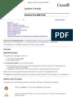 Applying for Temporary Resident Visa (IMM5256)