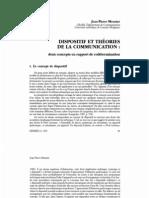 Meunier Dispositif Et Theorie de La Comunication