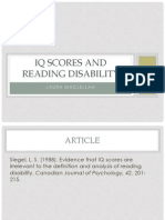 iq scores and reading disability