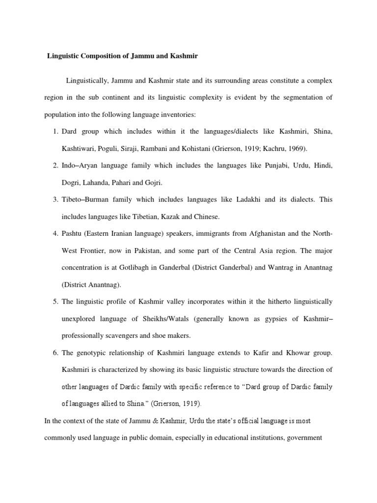 Linguistic Composition of Jammu and Kashmir | Kashmir | Urdu