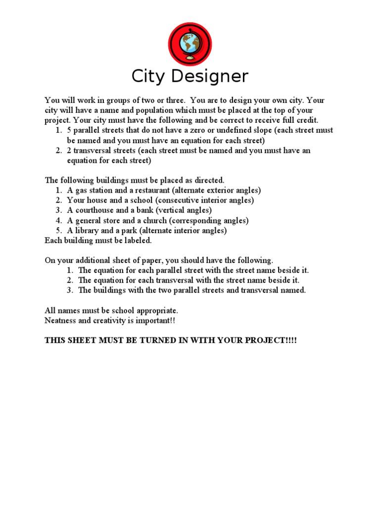 City Design Parallel Lines Activity