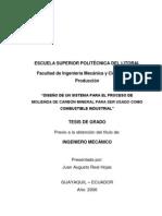 M 2006 Real Diseño de Proceso Molienda Carbon Mineral para Combustible Industrial