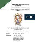 Especies Minerales de Las Principales Minas Del Peru