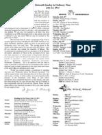 July 21, 2013 Bulletin