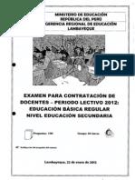 Prueba Contrato Docente 2013 Lambayeque Secundaria