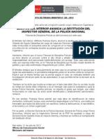 MINISTRO DEL INTERIOR ANUNCIA LA DESTITUCIÓN DEL INSPECTOR GENERAL DE LA POLICÍA NACIONAL