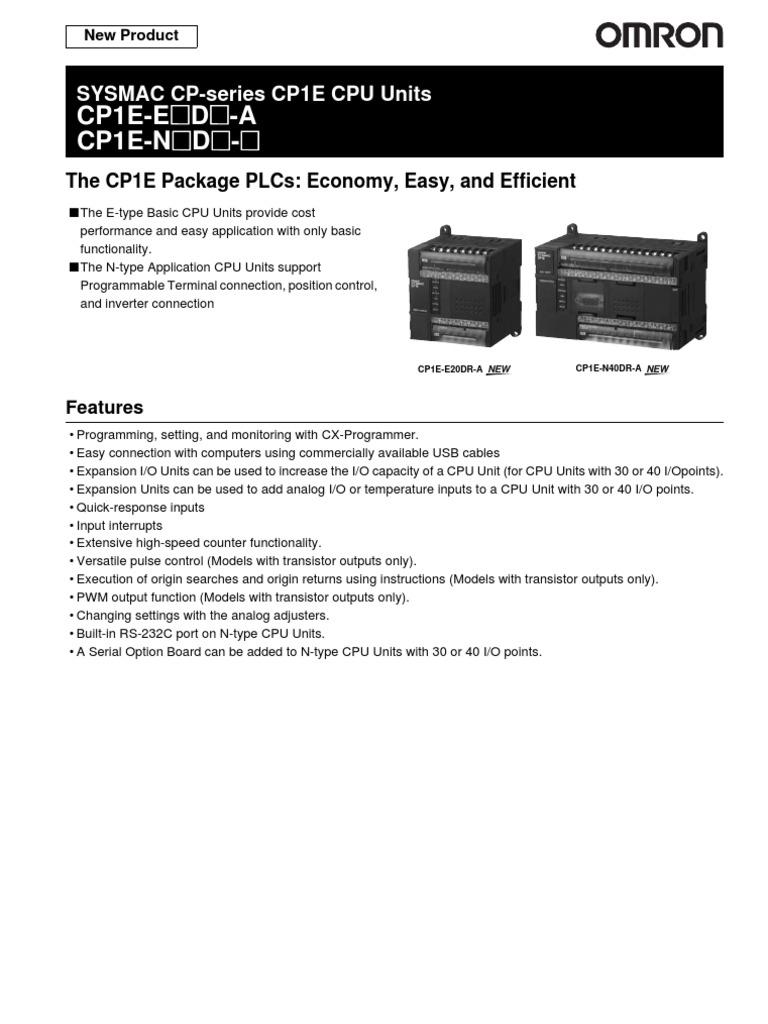 Datasheet Plc Omron Cp1e Input Output Power Supply 2wire Sensor Diagram For