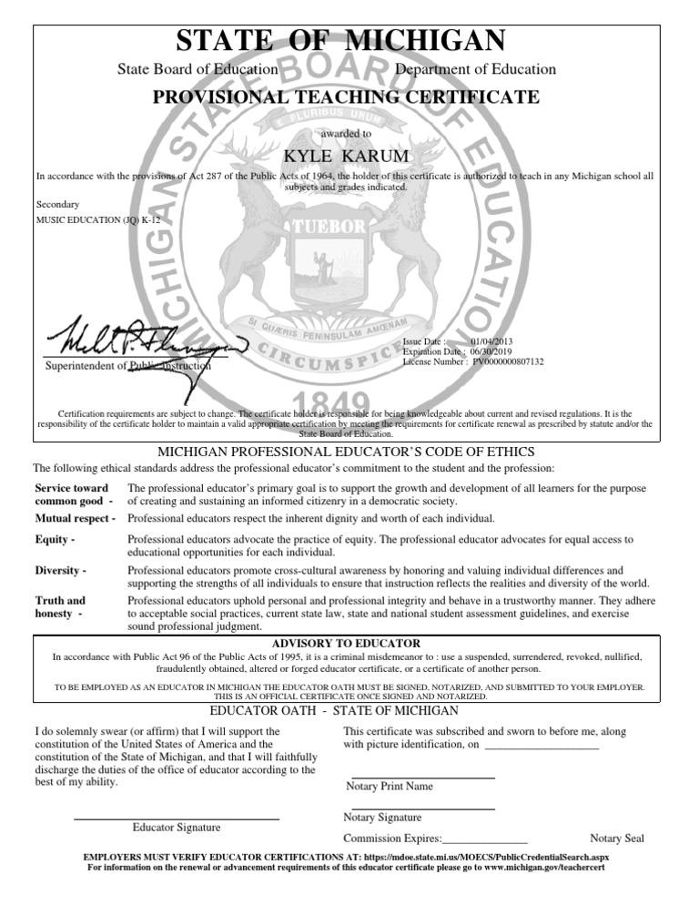 teaching certificate provisional michigan state