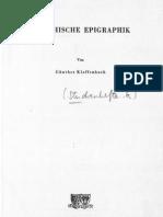 Günther Klaffenbach Griechische Epigraphik  1957