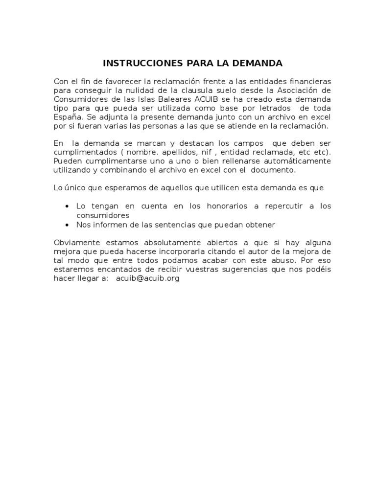 plantilla demanda clausula suelo web On demanda clausula suelo