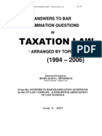 Suggested Answers in Taxation Law Bar Examinations 1994 2006