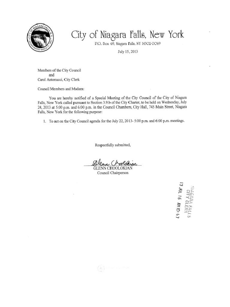 Niagara Falls City Council Agenda Backup Documentation