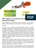 PRF registra 34 acidentes que deixaram três mortos na Paraíba