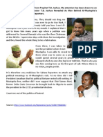 Count me out of the politics of hatred - TB Joshua