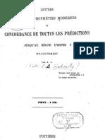 Chabauty Emmanuel-Augustin - Lettre sur les prophéties modernes et concordance de toutes les prédictions