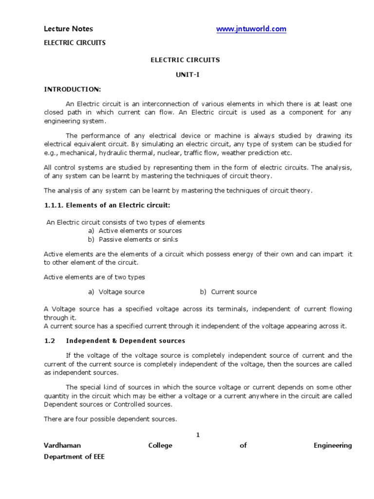 Electrical Circuits Lecture Notes | Series And Parallel Circuits ...
