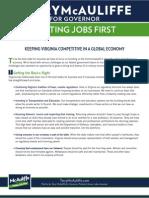 Terry McAuliffe's Platform for Virginia - Putting Jobs First