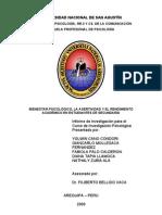REPORTE DE INVESTIGACIÓN (Asertividad, Bienestar Ps. y Rendimiento)