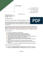 7-21-13 Ltr to Yoho Regarding is Letter to Senator Reid