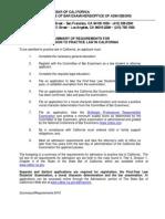 Admit Summary Requirements