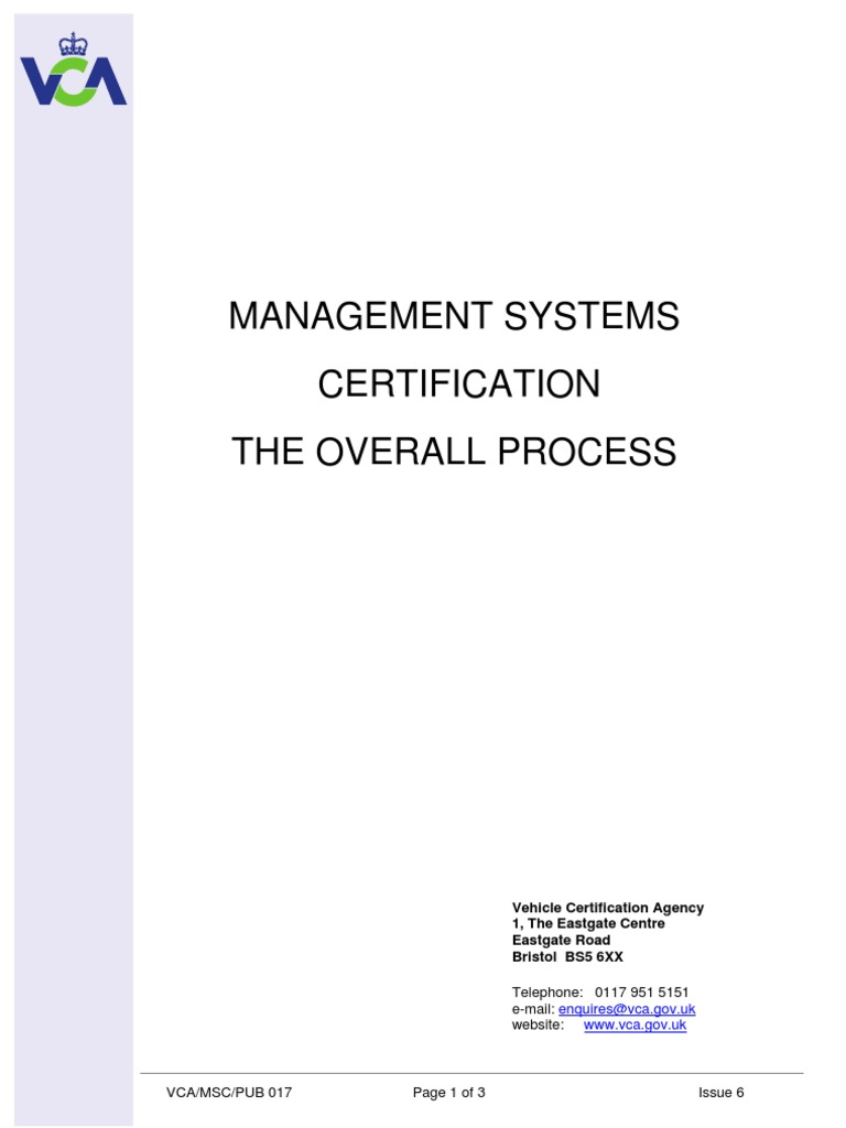 Management Systems Certification Overall Process Audit Iso 9000