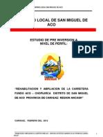 Perfil rehabilitación de carretera, San Miguel de Aco.