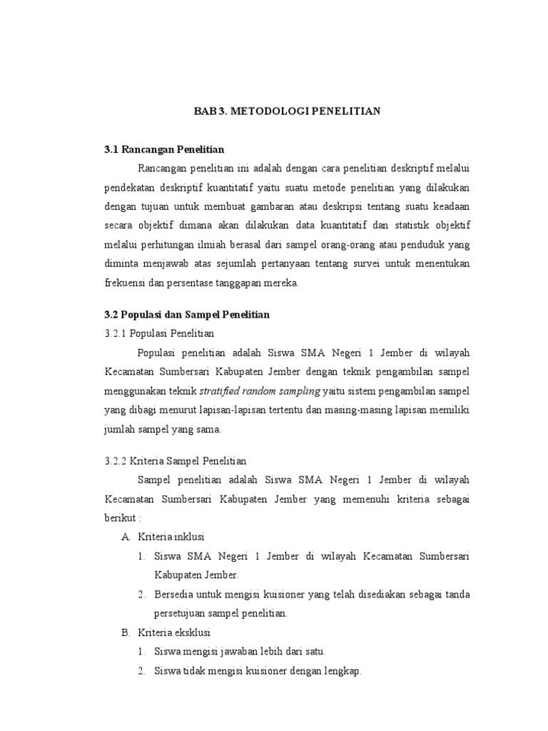 Skripsi Bab 3 Populasi Dan Sampel Ide Judul Skripsi Universitas
