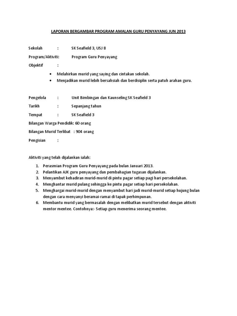 Laporan Bergambar Program Amalan Guru Penyayang Jun 2013