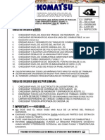 Material Tabla Chequeo Diario Excavadoras Komatsu
