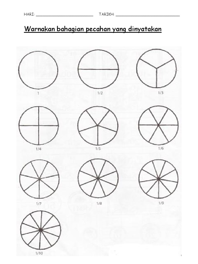 Latihan Pecahan Matematik Tahun 2